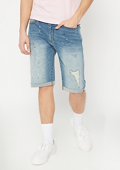Ultra Flex Medium Wash Paint Rolled Jean Shorts
