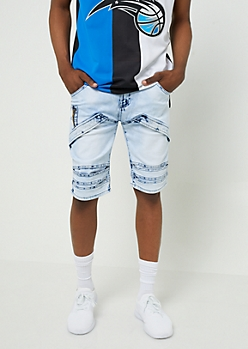 Light Acid Wash Flap Accent Jean Shorts
