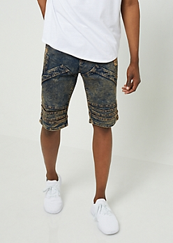 Dark Acid Wash Flap Accent Jean Shorts