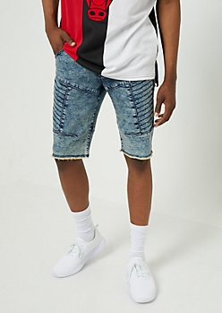 Flex Acid Wash Stitched Thigh Jean Shorts