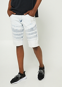 Light Wash Frayed Hem Moto Jean Shorts