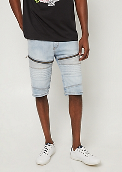 Light Wash Moto Studded Jean Shorts