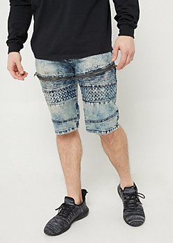 Medium Blue Acid Wash Denim Moto Shorts