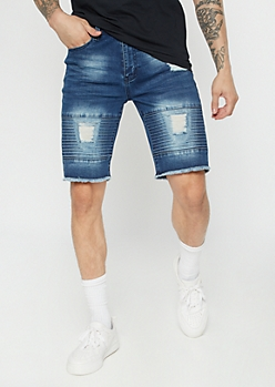 Dark Wash Ripped Moto Jean Shorts