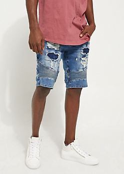 Medium Wash Destroyed Moto Skinny Shorts