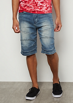 Dark Wash Topstitched Jean Shorts