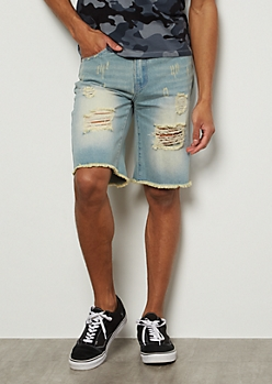 Light Wash Sunbaked Frayed Jean Shorts