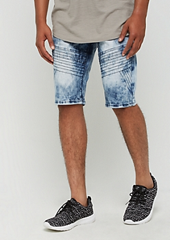 Acid Wash Moto Jean Shorts by XRay