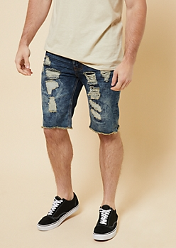 Medium Acid Wash Patched Destroyed Jean Shorts