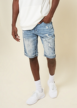 Medium Acid Wash Frayed Cuffed Jean Shorts