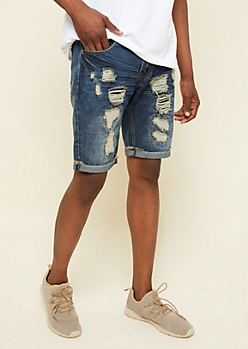 Dark Wash Patched Distressed Cuffed Jean Shorts