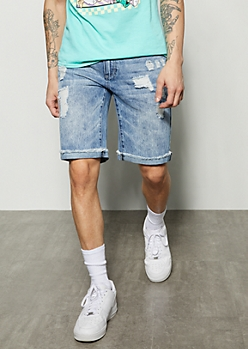 Medium Wash Distressed Rolled Jean Shorts