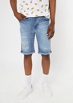 Supreme Flex Medium Wash Rolled Jean Shorts