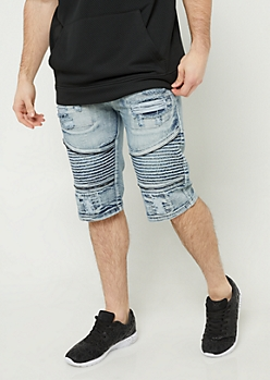 Light Wash Distressed Moto Shorts