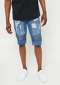 Medium Wash Bleach Spotted Distressed Jean Shorts