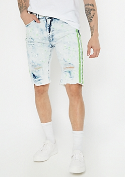 Supreme Flex Light Acid Wash Side Striped Jean Shorts