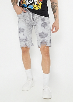 Supreme Flex Gray Acid Wash Distressed Jean Shorts