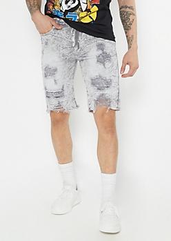 Supreme Flex Gray Acid Wash Distressed Jean Shorts