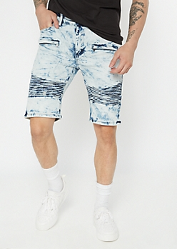 Supreme Flex Acid Wash Moto Jean Shorts