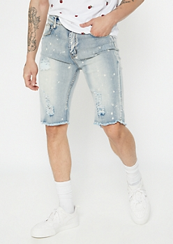 Supreme Flex Bleached Print Raw Cut Jean Shorts