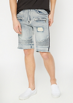 Supreme Flex Medium Wash Side Striped Jean Shorts