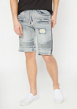 Supreme Flex Medium Wash Side Striped Jean Shorts