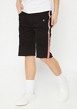Supreme Flex Black Side Striped Jean Shorts
