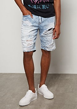Flex Light Wash Bleached Distressed Jean Shorts