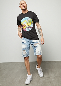 Flex Medium Wash Bleached Distressed Jean Shorts