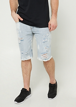 Light Acid Wash Distressed Shorts