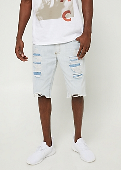 Flex Light Wash Distressed Jean Shorts