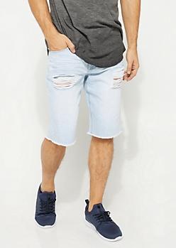 Flex Light Blue Ripped Raw Cut Jean Shorts