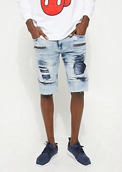 Flex Peekaboo Moto Medium Wash Jean Shorts