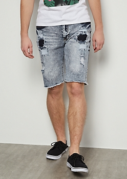 Flex Light Wash Patched Distressed Raw Cut Jean Shorts