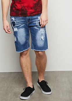 Flex Medium Wash Patched Distressed Raw Cut Jean Shorts