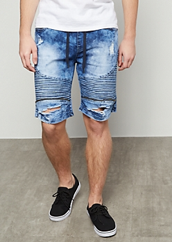Medium Acid Wash Distressed Moto Jogger Shorts