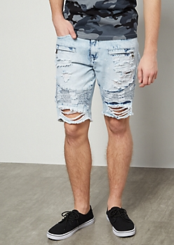 Flex Light Wash Distressed Moto Jean Shorts