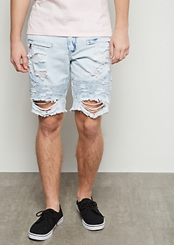 Flex Extra Light Wash Distressed Moto Jean Shorts
