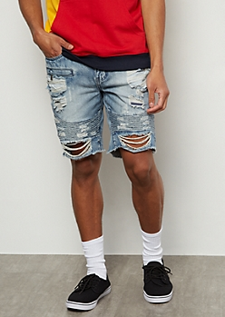 Flex Medium Acid Wash Moto Ripped Jean Shorts
