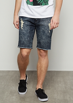 Flex Dark Wash Distressed Raw Cut Jean Shorts