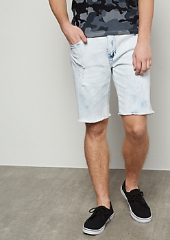 Flex Light Wash Distressed Raw Cut Jean Shorts