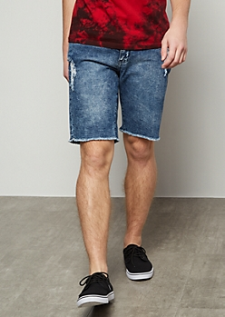 Flex Medium Wash Distressed Raw Cut Jean Shorts