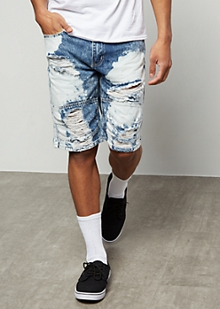 Flex Dark Wash Bleach Splattered Destroyed Jean Shorts