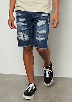 Flex Dark Wash Raw Patch Jean Shorts