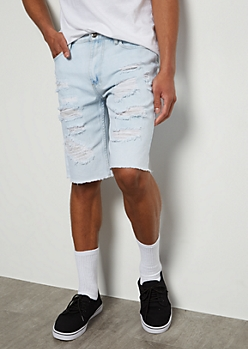 Flex Light Wash Raw Patch Jean Shorts