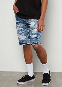 Flex Medium Acid Wash Raw Patch Jean Shorts