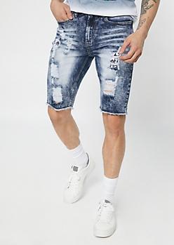 Supreme Flex Dark Bleached Bandana Jean Shorts