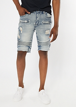 Supreme Flex Medium Wash Moto Frayed Jean Shorts