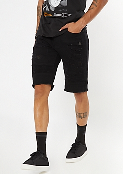 Supreme Flex Black Moto Frayed Jean Shorts
