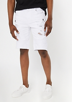 Supreme Flex White Moto Frayed Jean Shorts
